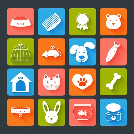 Pets icons set flat with animal food toy isolated illustration Vector