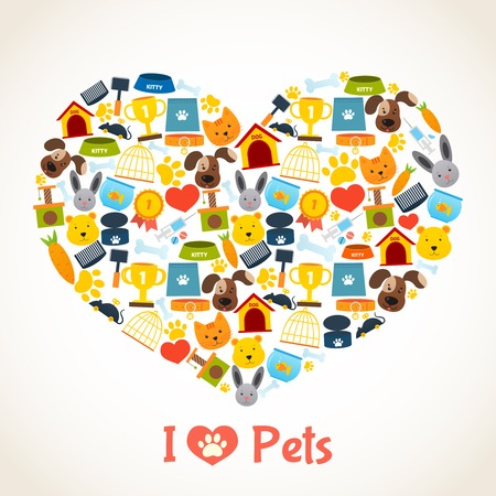 rabbit cage: I love pets heart concept with comfort care elements illustration