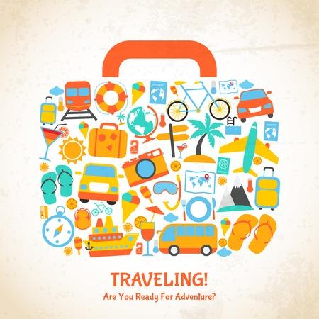 viajes: Vacaciones Viajes maleta de vacaciones, listo para la aventura concepto ilustración Vectores