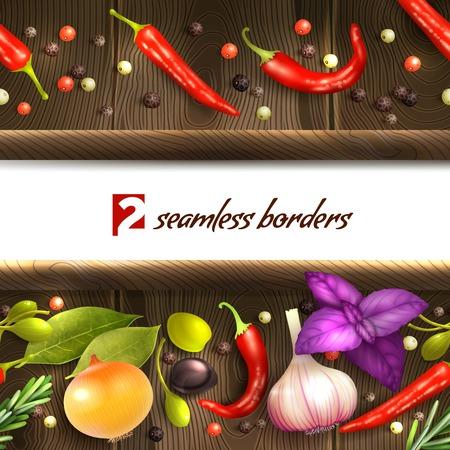 Realistische kruiden en specerijen decoratieve houten naadloze grenzen illustratie