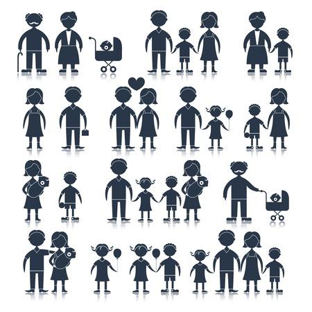 Family figures icons black set of men women children isolated illustration Vettoriali
