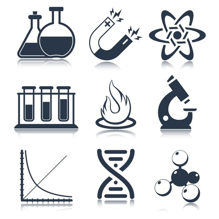laboratory equipment: Physics science laboratory equipment black education icons set isolated illustration
