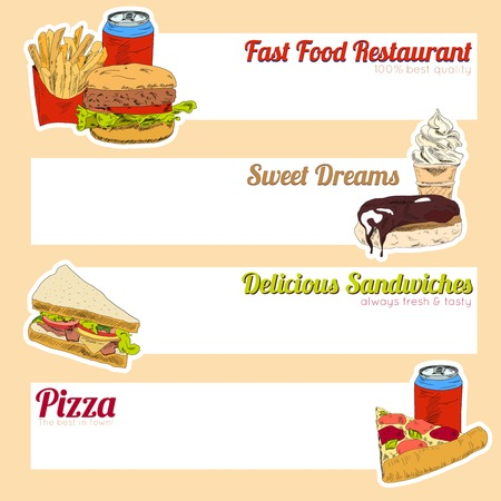 fill fill in: Fast food restaurant menu delicious sandwiches pizza hotdog sweet drinks fill in template form banner illustration