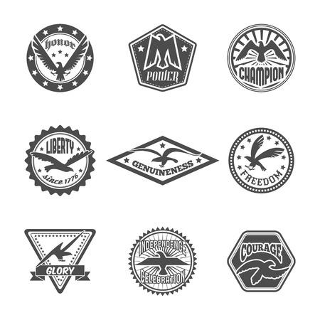 Eagle freedom independence power symbol premium quality labels icons set with displayed wings black  isolated illustration Ilustração