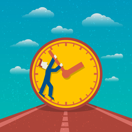 Time management day planning road to success poster with clock and man cartoon character flat illustration Vector