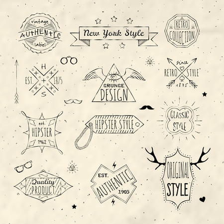 High quality premium retro  classic hipster grunge trademark emblems labels set doodle sepia sketch isolated illustration Ilustração