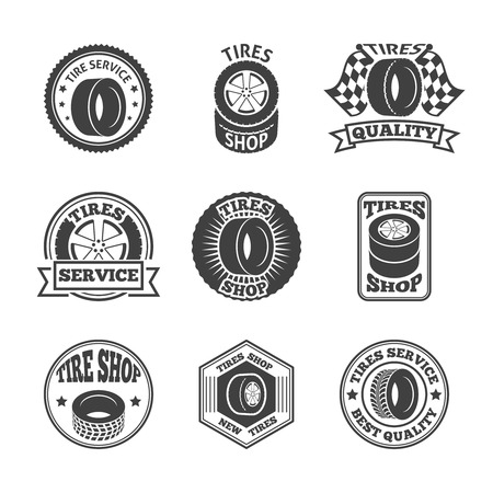 replacing: Different brands tires tread pattern shops emblems and replacing service labels set black abstract illustration Illustration