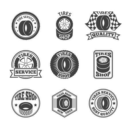 tire change: Different brands tires tread pattern shops emblems and replacing service labels set black abstract illustration Illustration