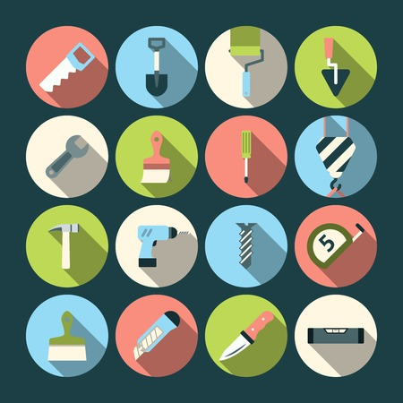 Home repair tools round solid icons set with paint brush and knife abstract shadow isolated illustration Vector