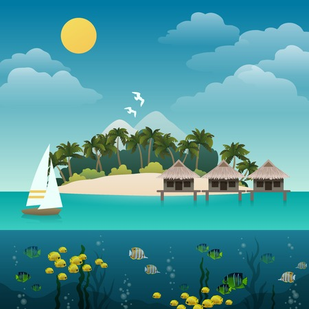sandy: Tropical island sea view with yacht sandy beach background illustration