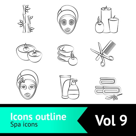 skin oil: Outline spa beauty face care wellness icons set isolated illustration