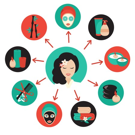 beauty face: Spa beauty face care wellness icons set with massage therapist avatar illustration Illustration
