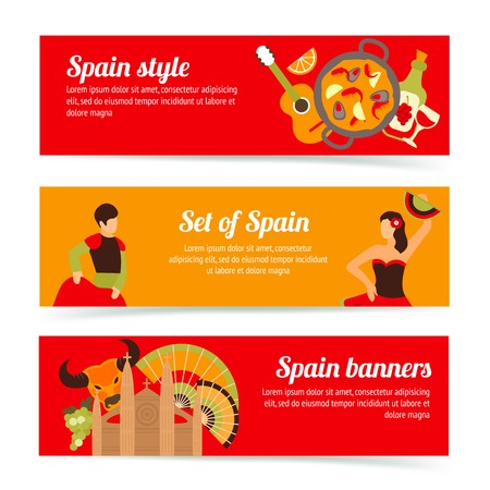spanish culture: Spain travel spanish style culture wine flamenco banners set isolated illustration