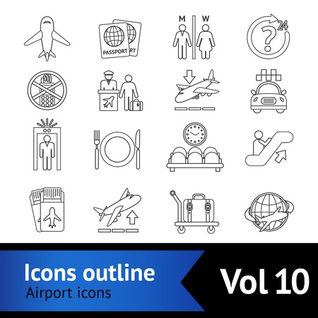 airport security: Airport travel outline icons set with airplane security control waiting lounge isolated illustration