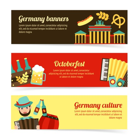 Germany travel traditional food culture Oktoberfest banner set isolated illustration
