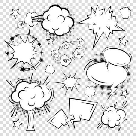 Comic outline blank text speech bubbles on squared background set illustration Çizim