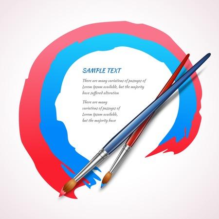 proficiency: Paint brushes color frame artistic design background template illustration