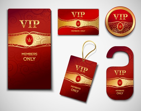 vip beautiful: Vip members only premium golden exclusive cards red design template set isolated illustration
