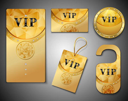 only members: Vip members only premium golden elegant cards design template set isolated illustration