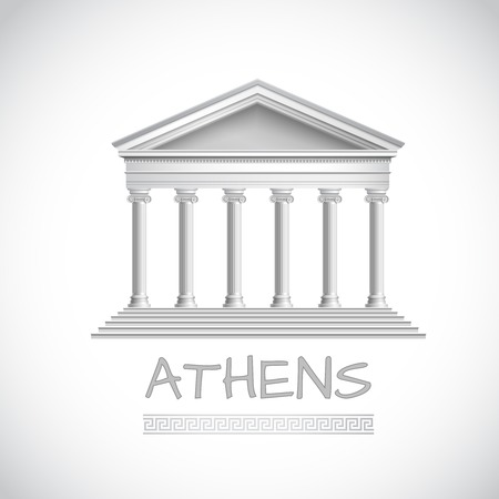 Athens emblem with realistic antique temple front illustration