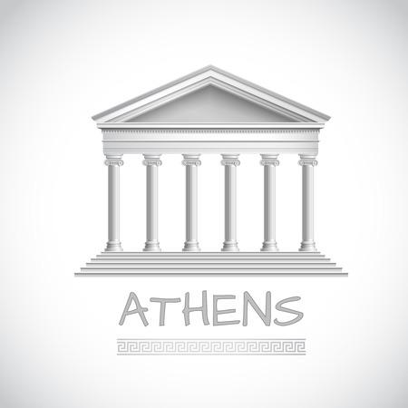 Athens emblem with realistic antique temple front illustration