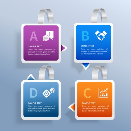 wobbler: Color advertising paper wobbler infographic set with business signs illustration