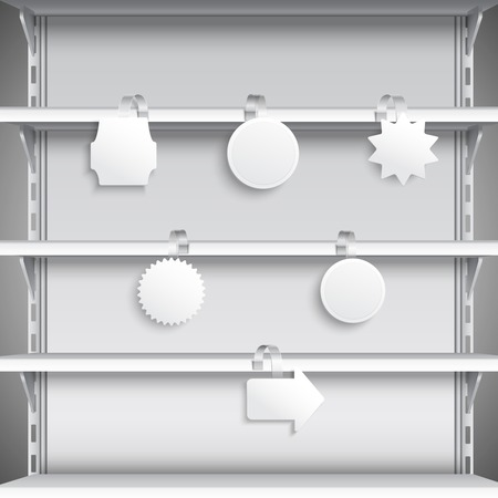 White advertising sale wobblers hanging on supermarket shelves illustration