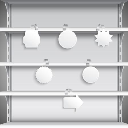 advertising wobbler: White advertising sale wobblers hanging on supermarket shelves illustration