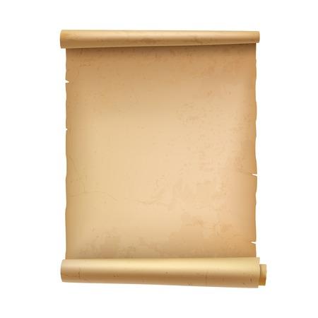 schriftrolle: Jahrgang leere Scroll-Dokument Pergament isoliert auf weißem Hintergrund Illustration