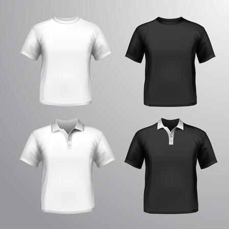 검은 색과 흰색 라운드 넥과 폴로 티셔츠 남성 세트 고립 된 그림 일러스트