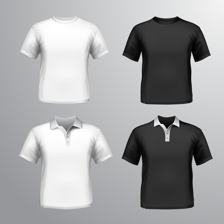 man t shirt: Black and white round neck and polo t-shirts male set isolated illustration