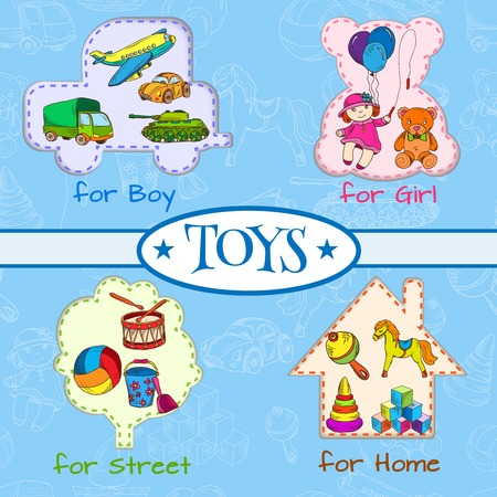 boys toys: Vintage colored sketch kids toys for boys girls street and home composition on outline background illustration Illustration