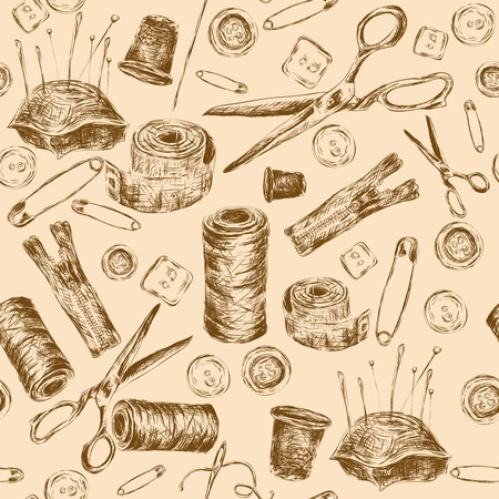 needle cushion: Sewing sketch seamless pattern with thread spool needle pillow scissors illustration.