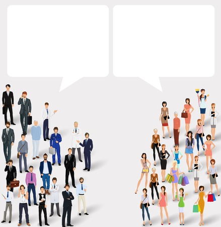Adult men and women with speech bubbles people chat concept illustration Illustration
