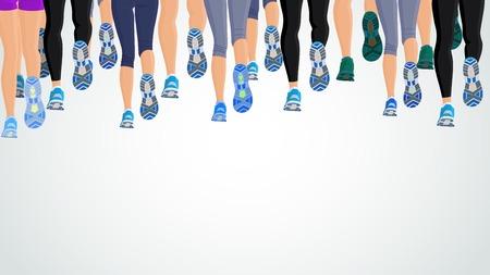 corriendo: De grupos o personas que ejecutan las piernas espalda vista ilustraci�n de fondo Vectores