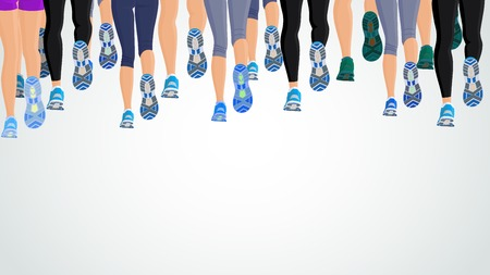 run woman: Group or running people legs back view background illustration