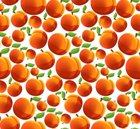 Ripe fresh natural organic fruit peach seamless pattern illustration Illustration
