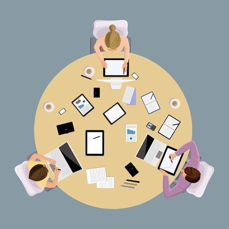 gruppe von menschen: Brainstorming Business Konzept Draufsicht Gruppe Menschen auf Tabelle illustration