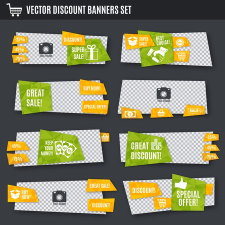 special events: Discount great sale special offer paper banners set isolated illustration
