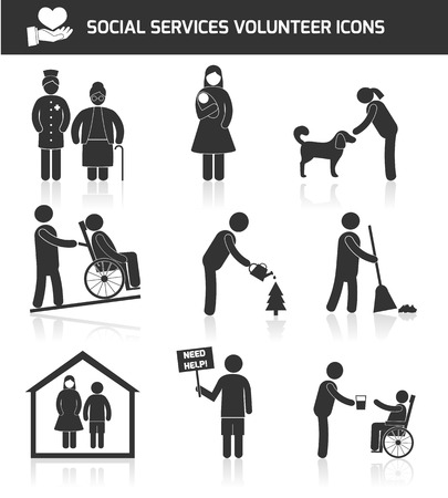 Social responsibility services and volunteer icons set black isolated illustration Illustration