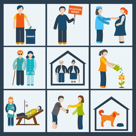 Social services and volunteer organizations icons set flat isolated illustration Illustration