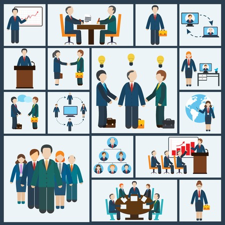 business partnership: Business meeting icons set of partnership planning conference elements isolated illustration