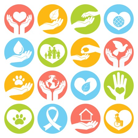 Servicios sociales de donación de caridad y voluntariado botones blancos redondos conjunto, ilustración,