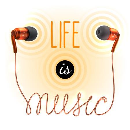 Orange headphones earplugs with life is music letters poster illustration Vector
