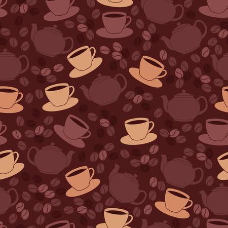 レストラン カフェ コーヒー カップと豆の図とのシームレスなパターン