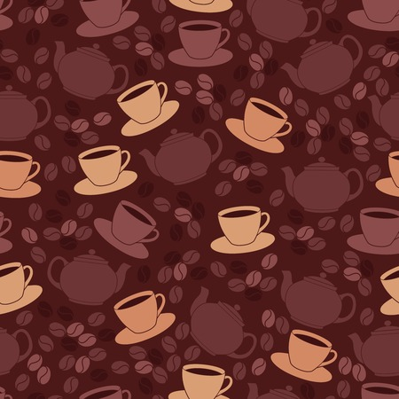 Restaurant cafe seamless pattern with coffee cup and beans illustration Ilustração