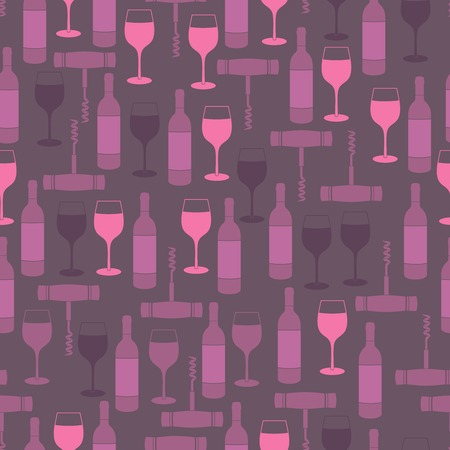 bottle screw: Restaurant wine bar seamless pattern with glass bottle and corkscrew illustration Illustration