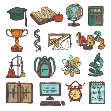 Retro school education colored sketch icons set of graduation hat book calculator isolated illustration Vector