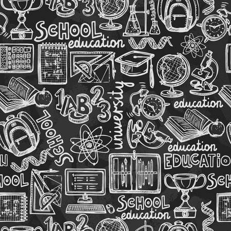 tileable: Retro school and university education chalkboard seamless pattern illustration Illustration