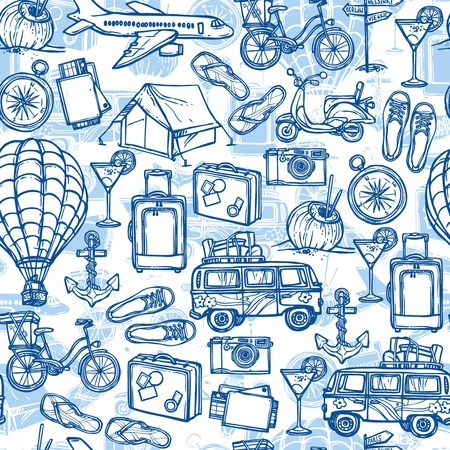 Travel holiday vacation blue hand drawn seamless pattern with tourist transport illustration Vector
